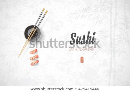 a japanese sushi template on white background stock photo © bluering