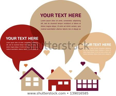 White Paper House Building Shape Speech Bubble Stock photo © limbi007
