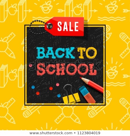 back to school sale poster and banner with colorful title and elements in black and yellow backgroun stock photo © ikopylov