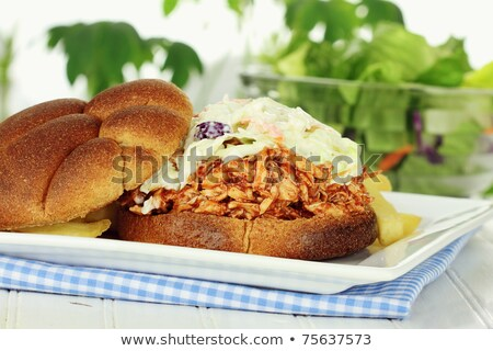 pulled pork and coleslaw salad burger sandwich with fries meal Stock photo © travelphotography