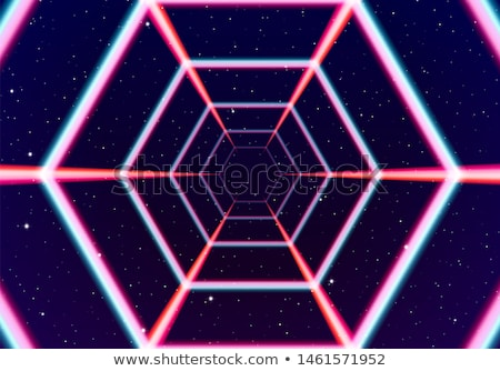 Neon tunnel in space with 80s styled lazer lines stock photo © SwillSkill