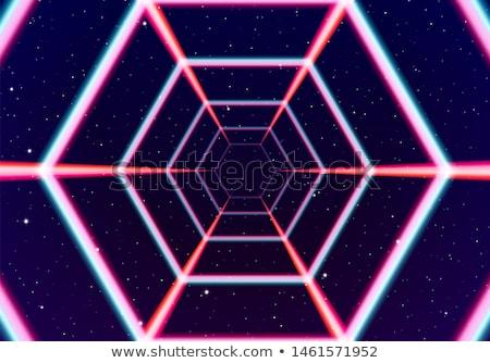 Neon tünel uzay 80s hatları fütüristik Stok fotoğraf © SwillSkill