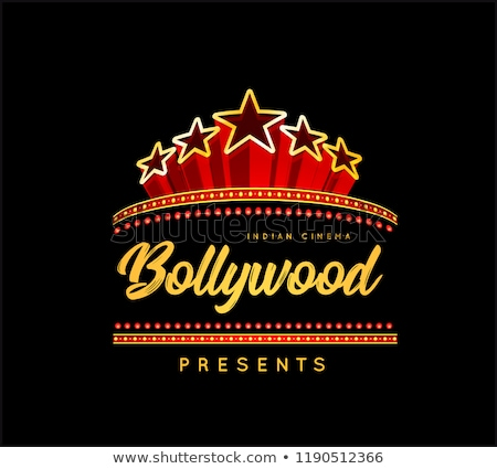 Bollywood is a traditional Indian movie. Vector illustration with marquee lights Stock photo © m_pavlov