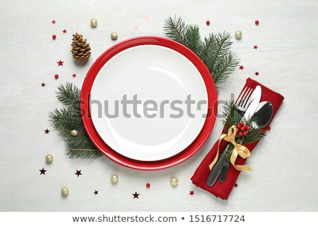 Christmas table setting with xmas tree stock photo © karandaev