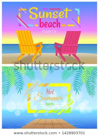 набор · стульев · солнце · пляж · иллюстрация - Сток-фото © robuart