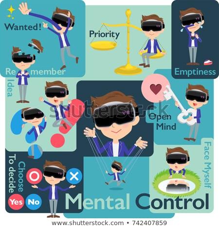 Virtuális valóság szett különböző férfiak baba Stock fotó © toyotoyo