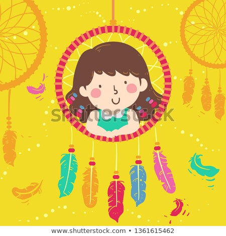 Girl Craft Dream Catcher Illustration Stock photo © lenm