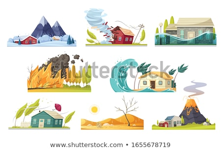 Disaster icon collection. Destruction of buildings set of icons. Stock photo © popaukropa
