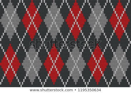 Foto stock: Seamless Knitted Pattern With Rhombus Decorative Ornament Geometric Background With Textile Textur