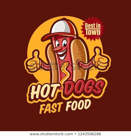 Stockfoto: Logo · hot · dog · fast · food · geïsoleerd · witte · achtergrond
