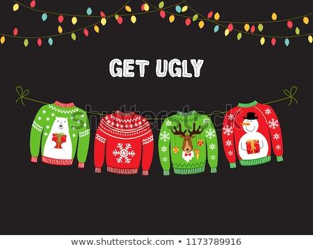 Vidám karácsony aranyos csúnya gyűjtemény kötött Stock fotó © Margolana