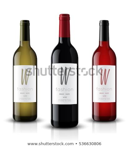 vettore · realistico · bicchiere · di · vino · bottiglia · up · rosso - foto d'archivio © trikona