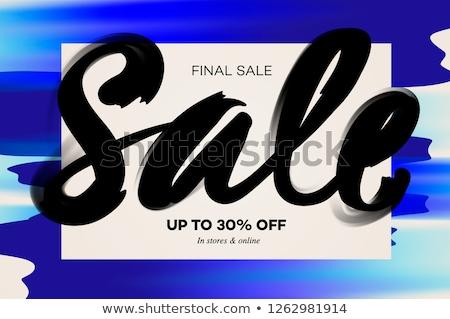 sale banner template midseason sale blue watercolor background vector illustration stock photo © ikopylov