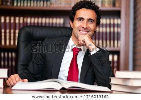 Advogado retrato estúdio escritório sorrir livros Foto stock © Minervastock