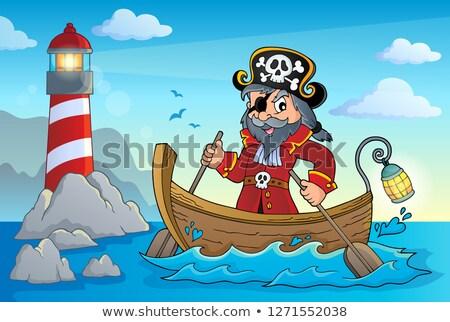 Kalóz csónak téma kép férfi tenger Stock fotó © clairev