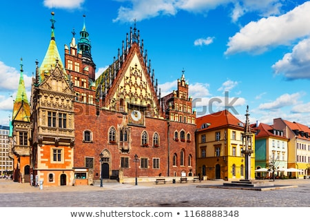 facade of the gothic old town hall on market square in wroclaw stock photo © boggy