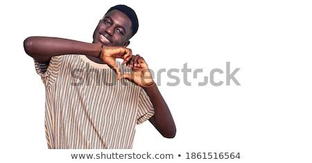 portret · gelukkig · denim · permanente · samen - stockfoto © deandrobot