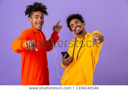 twee · vrolijk · mannelijke · afrikaanse · vrienden · permanente - stockfoto © deandrobot