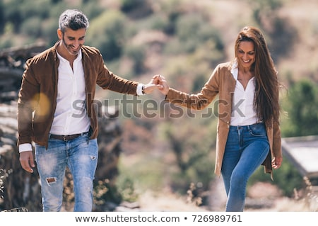 beautiful couple embracing in winter Stock photo © Lopolo