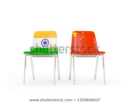 Stok fotoğraf: Iki · sandalye · bayraklar · Çin · Hindistan · yalıtılmış
