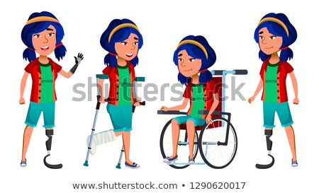 Asian Girl Kid Poses Set Vector. High School Child. Disabled. Wheelchair. Amputation Prosthesis. For Stock photo © pikepicture