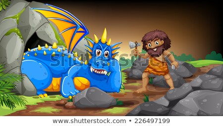 Caveman and dragon Stock photo © colematt