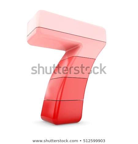 Metal red lines font Number SEVEN 7 3D Stock photo © djmilic