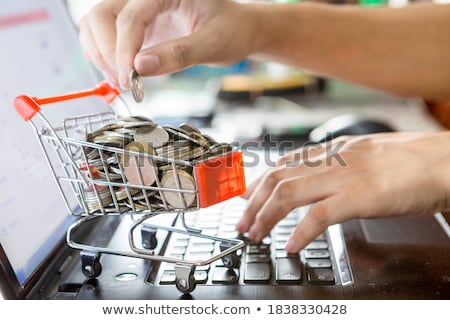 winkelwagen · munten · witte · business · geld · achtergrond - stockfoto © andreypopov