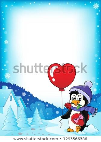 かわいい バレンタイン ペンギン フレーム バラ 芸術 ストックフォト © clairev