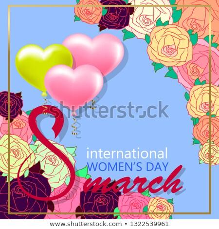 Feliz día de la mujer floral tarjeta de felicitación internacional vacaciones Foto stock © articular
