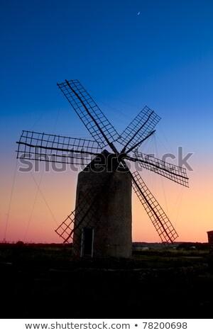 fırıldak · gün · batımı · İspanya · güneş · siluet · değirmen - stok fotoğraf © lunamarina