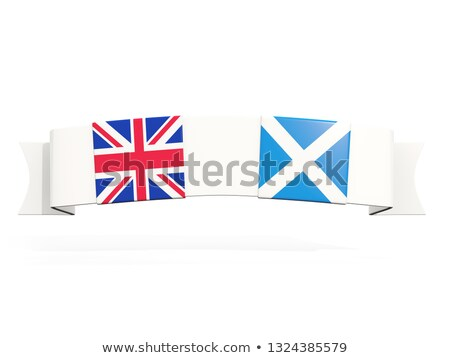 Banner with two square flags of United Kingdom and scotland Stock photo © MikhailMishchenko