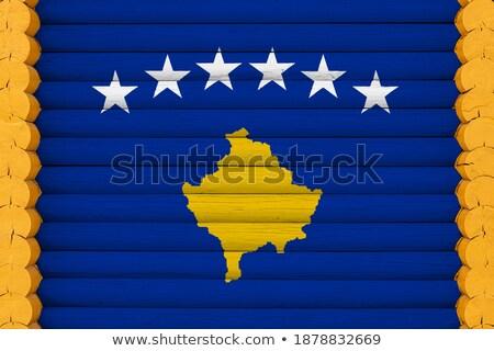 Casa bandeira Kosovo branco casas Foto stock © MikhailMishchenko