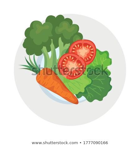 Carotte laitue illustration blanche vert orange Photo stock © ConceptCafe