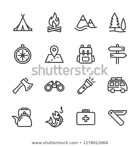 kempingezés · ikon · gyűjtemény · kikapcsolódás · tűz · természet · felirat - stock fotó © angelp