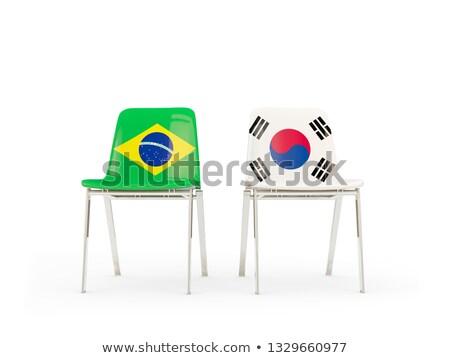 Dwa krzesła flagi Brazylia Korea Południowa odizolowany Zdjęcia stock © MikhailMishchenko