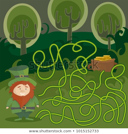 Maze game for kids. Help red Leprechaun to find his way to the pot of gold. stock photo © Natali_Brill