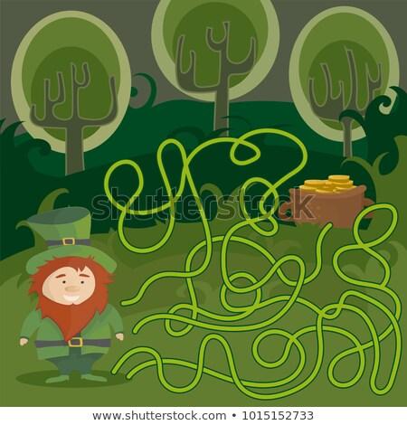 Labirintus játék gyerekek segítség piros manó Stock fotó © Natali_Brill