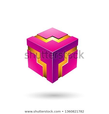Magenta ziguezague cubo vetor ilustração isolado Foto stock © cidepix