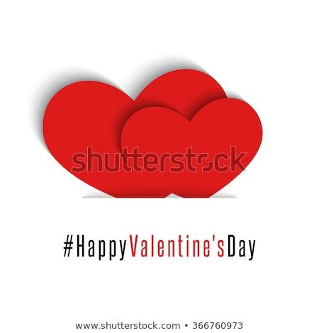 Stock fotó: Valentin · nap · üdvözlőlap · pár · piros · szívek · kártya