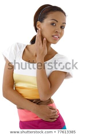 портрет · улыбаясь · афро · американский · женщину - Сток-фото © deandrobot