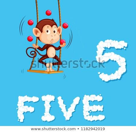 majom · zsonglőrködés · klasszikus · kártya · aranyos · golyók - stock fotó © colematt
