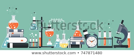 laboratory equipment banner concept for science medicine and knowledge flat vector illustration stock photo © makyzz