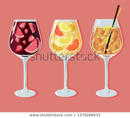 vector spanish drink sangria with oranges in a glass stock photo © giraffarte