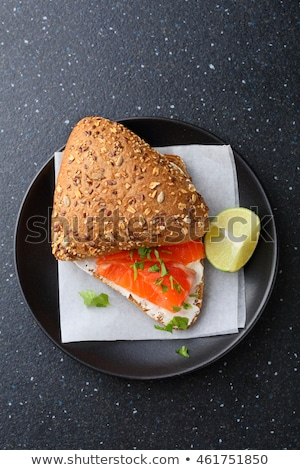 Sandwiche with salmon and herb butter Stock foto © Melnyk