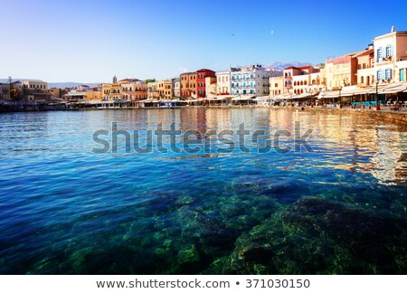 clear water of Chania habour, Crete, Greece Stock fotó © neirfy