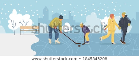 Wintertime Cold Season, Couple Walking on Ice Stock photo © robuart