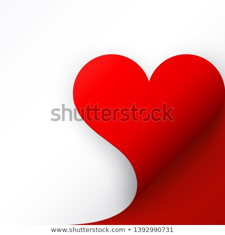 Red paper with heart curled corner and shadow, template for your design. Set. Vector illustration Stock photo © olehsvetiukha