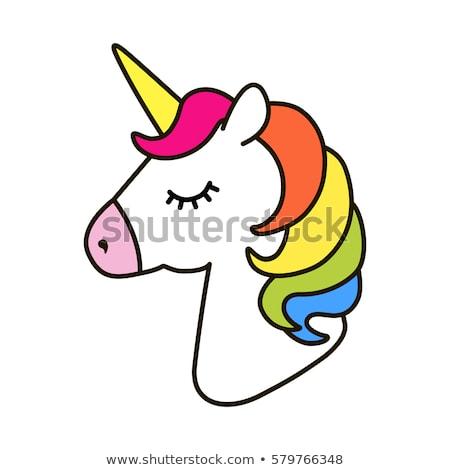 Lovely unicorn head portrait Stock photo © liolle
