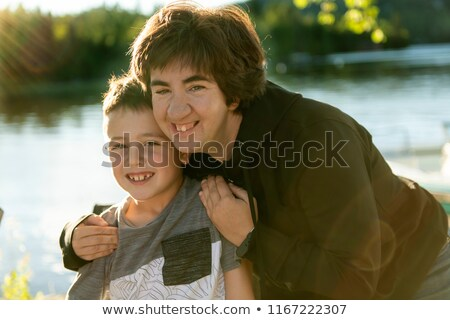 мальчика весело друга женщину тесные озеро Сток-фото © Lopolo